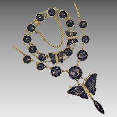 Japanese Damascene Amita Butterfly Necklace Bracelet Set