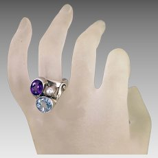 Vintage Ring Sterling, Topaz, Amethyst, Cultured Pearl size 9