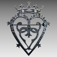 1959 Sterling Scottish Luckenbooth Brooch Hearts and Crown