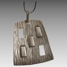 Mid Century Modern Sterling Silver Pendant Necklace Chain
