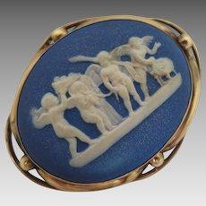 1886 Wedgwood Cherubs Blue Jasper Brooch