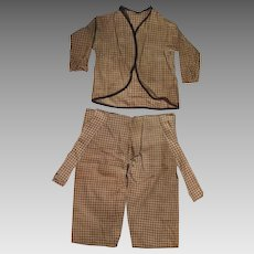 Antique Brown Check Pants and Top for large Doll or Bear