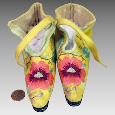 Antique Chinese Lotus Shoes Embroidered Yellow Silk