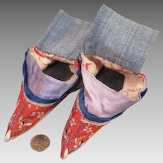 Antique Chinese Lotus Shoes Red Silk Embroidered