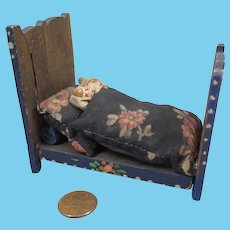Antique Wood Bed and Dolls House Miniature Folk Art