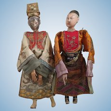 Chinese Opera Doll Pair 10 inches