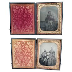 2 Ambrotype Child with Doll Photographs