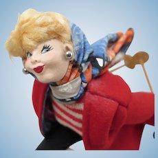 Vintage Roldan Skiing Lady Doll