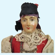 Antique French Papier Mache Doll 9 inches