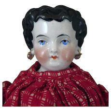 1870s Conta Boehme China Doll with Pierced Ears 15 inches