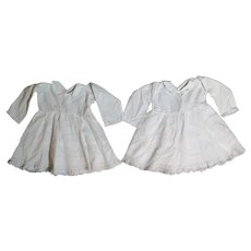 Matching Pair Antique White Doll Dresses