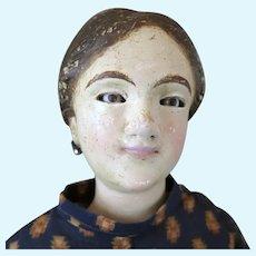 Antique Wood Lady Doll 22 inch