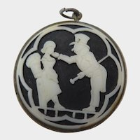 Antique Blue and White Cameo Porcelain Pendant