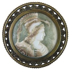 Antique Colored Glass Cameo Brooch of a Woman Warrior