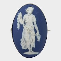 Antique Adams Jasperware Cameo Brooch of Woman