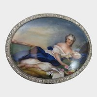 Antique Reclining Woman Painted Porcelain Brooch