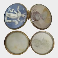 Antique Double sided Locket with 2 Paintings of Women