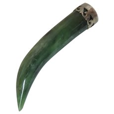 Antique Jade Horn Pendant Fob