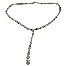 Vintage Sterling Silver Rhinestone Choker Drop Necklace