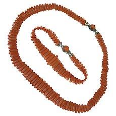 Antique Victorian Coral Necklace and Bracelet Set