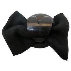Victorian Jet Heart Bow Mourning Brooch