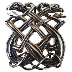 Antique Sterling Silver Celtic Dragon Snake Pendant