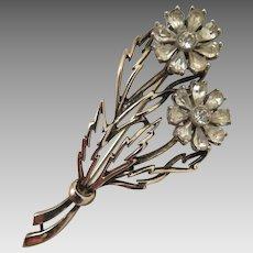 1940s-50s Sterling Silver Rhinestone Flower Brooch