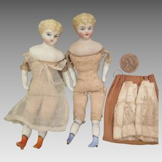 Pair 1880s ABG Doll House Dolls 4.5 inches