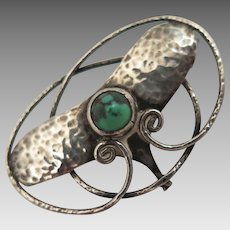 Antique Art Nouveau Arts and Crafts Sterling Turquoise Brooch