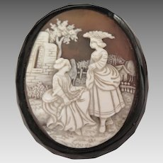 Georgian Scenic Cameo Brooch in Whitby Jet Setting