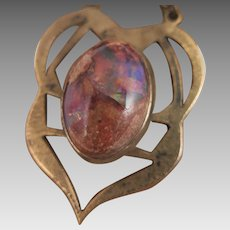 Arts and Crafts Boulder Opal Sterling Watch Fob Chain Pendant