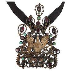 Antique Austro Hungarian 800 Silver Garnet Turquoise Bird Pendant