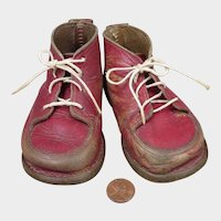 Early 1900s Red Leather Baby Doll Shoes