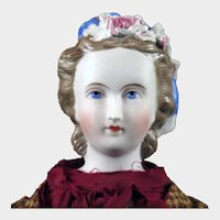 1870s Parian Bisque Doll with Applied Flowers 16 inches
