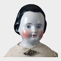 1860s German China Doll with Snood 29 inches