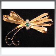 Big 1940s Sterling Vermeil Bow Brooch with Rhinestones