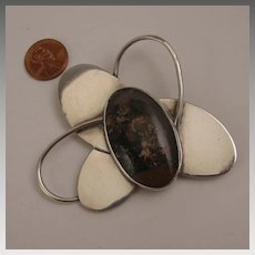 Vintage Mod Sterling Silver Big Atomic Abstract Agate Brooch