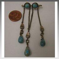Early 1900s Czech Turquoise Art Glass Triple Dangle Brooch