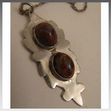 1970s Vintage Sterling Silver Double Boulder Opal Pendant Necklace