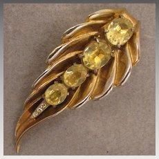 Vintage Gold Tone Topaz Yellow Rhinestone Leaf Fur Clip Brooch