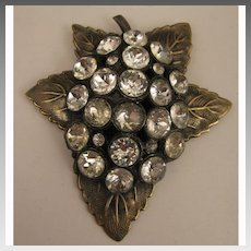Large Vintage Rhinestone Leaf Dress Clip