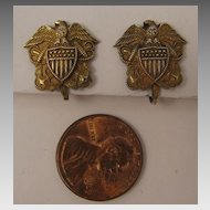 1940s Vintage Sterling Silver US Navy Earrings with Eagle, Flag Shield, and Crossed Anchors