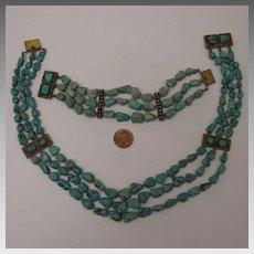 circa 1900 Chinese Export 3 Strand Turquoise Nugget Necklace & Bracelet Set