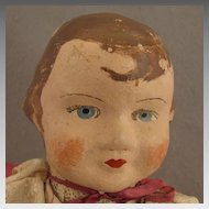1930s Vintage 18 inch German Painted Cloth Little Red Riding Hood Doll