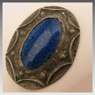 Arts & Crafts Ruskin Art Pottery Blue Stone Pewter Brooch