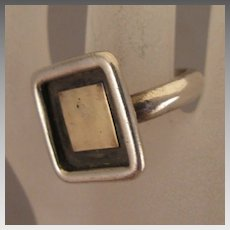 Mid Century Modern Sterling Silver Shadow Box Ring Size 9.5