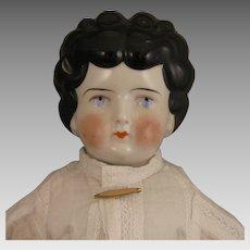 c.1900 German Low Brow China Head Doll 19 inch