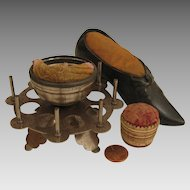 3 Antique Sewing Pin Cushions: Shoe, Carved and Spool