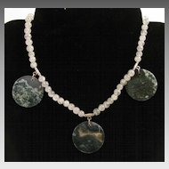 16.5 inch Rutilated Quartz with Moss Agate Coins Necklace