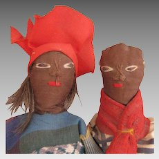 Vintage Pair of Ethnic Black Folk Art Cloth Dolls 8 inch